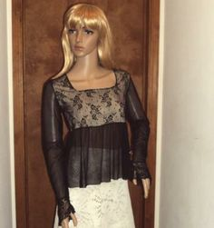 Vintage Blouse 1970s Black Mesh Sheer Illusion Draped Lace Net Tulle Gothic Retro Top Small BZ Bee  Only $26!