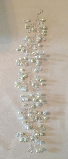 Wedding bridal ivory white pearl and crystal hair vine