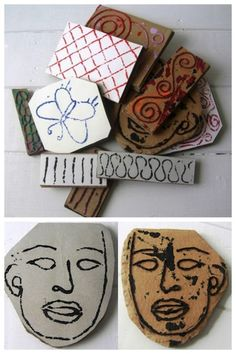 Recycled Cardboard Stamps Using String Tutorial. favorite journal making/recycling site: Jennibellie Studio. I've posted her journals and links to her tutorials before and her videos are so good (check out her YouTube channel). Video Tutorial from Jennibellie Studio here.
