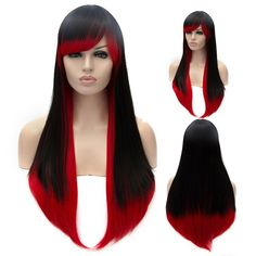 Trendy Lolita Long Black to Red Ombre Straight Capless Side Bang Cosplay Women's Wig