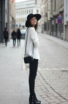 blouse, skinny pants, bootie, fedora, small purse: