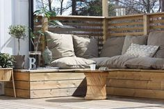 Corner seating with cushions on deck, garden, patio Deck Seating, Corner Seating, Outdoor Seating, Outdoor Rooms, Outdoor Gardens, Outdoor Living, Outdoor Decor, Banquette Seating, Outside Living