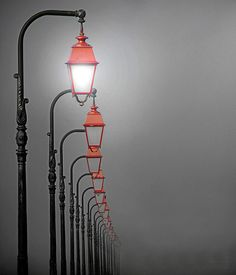 Streetlights in the fog, Normandy, France