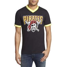 Pittsburgh Pirates - Pirate Logo Eephus V-Neck Adult Jersey T-Shirt