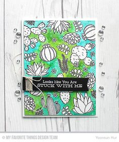 Handmade card from Yoonsun Hur featuring Laina Lamb Design Sweet Succulents stamp set and Wonky Stitched Rectangle STAX Die-namics