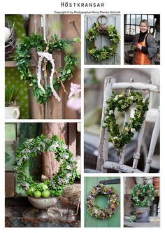 lovely wreath...just take a shape and add greenery.  http://blomsterverkstad.blogspot.com/search/label/Floral%20dekorations