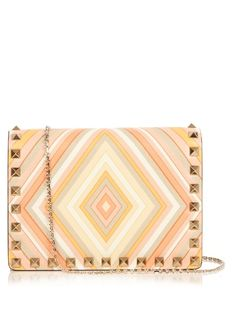 VALENTINO Rockstud Leather Cross-Body Bag. #valentino #bags #shoulder bags #leather #lining