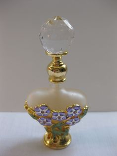 Hand Crafted Crystal Floral Glass Perfume Bottle