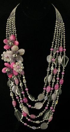 Flower Necklace Accented with Pink, Gray & White Semi Precious Stones with Beads