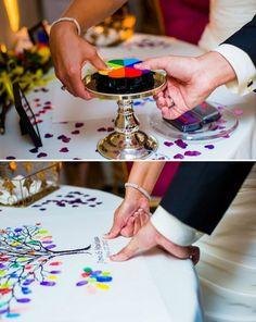 www.weddbook.com everything about wedding ♥ Creative Thumbprint Tree Wedding Guestbook #weddbook #wedding #guestbook #diy