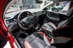 The sporty look continues to the interior; the three-spoke sports steering wheel in leather matches the gearstick and handbrake, complemented by individual sports seats and other design elements #SKODAIAA #RapidMonteCarlo #SKODA #IAA2015
