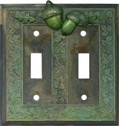 Number 1 for Quality & Selection. Acorn - 2 Toggle Switch Plate Covers & Outlet-Rocker plates in stock. What's on your walls? Decorative Light Switch Covers, Switch Plate Covers, Light Switch Plates, Hanging Lamp Design, Fluorescent Light Covers, Different Shades Of Green, Outlet Covers, Rustic Design, Plates On Wall