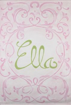 cute name with art in pink and green but i would do it in purple and grey