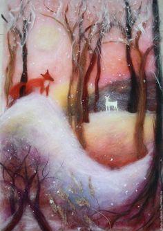 """Детская ручной работы. Ярмарка Мастеров - ручная работа. Купить """"Зимний сон""""  картина из шерсти. Handmade. Кремовый, зимний пейзаж"""