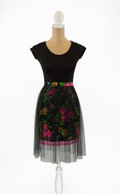 """""""Tulle Skirt"""" Folk- Black & Pink- Extra Small 