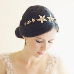 Crystal Star Gold Wedding Hair Accessories Headband Tiara Crown Bridal Headdress #Tiara