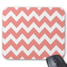 Shop Coral and White Chevron Mouse Pad created by peacefuldreams. Mousepad, Computer Accessories, Chevron, Coral, Girly, Stripes, Chic, My Love, Create