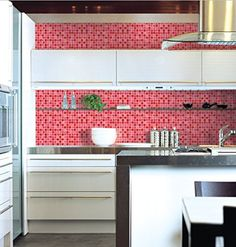 Peel and Stick Tile Pattern Wallpaper [DPS-26 (Pearl Red): 100cm(3.28ft) X 200cm(6.56 ft)] Self-Adhesive Contact Paper Multipurpose Shelf Liner ** Continue to the product at the image link.