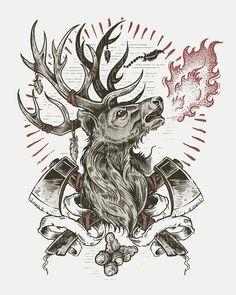 #deer #illustration #axe #fire