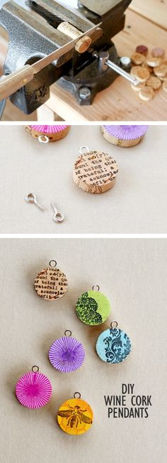 Wine Cork Pendants is a photo craft tutorial showing how to make jewelry pendants out of wine corks by slicing, coloring and stamping them.