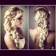 I find this is a beautiful look for the Bride who has lovely...long Hair and who isn't interested in a traditional updo!...I think you can print this picture & bring it in to your Hairstylist & you will Look absolutely stunning on your Wedding Day!  Best of  Luck!