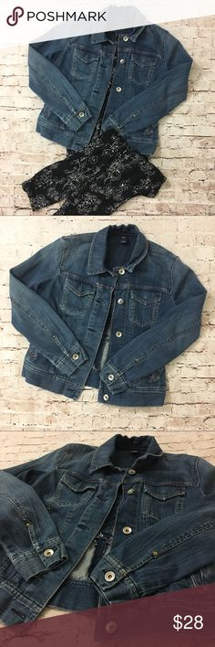 GAP | denim jean jacket dark blue with buttons Dark blue denim jean jacket by the GAP. EUC. Like new. Buttons up. Buttons on sleeves. Medium. Marker spot on size tag. GAP Jackets & Coats Jean Jackets