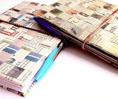 Agendine con carta di giornale di riciclo