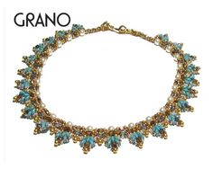 GRANO Light Blue SuperDuo Beadwork Necklace Beading Kit (Instruction and Materials)