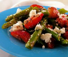 Asparagas and Strawberry Salad with Blue Cheese crumbles