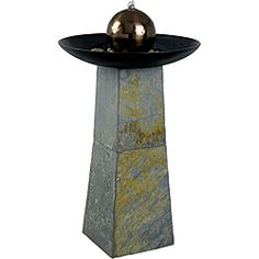@Overstock - This Pontus floor fountain features a copper finish orb that spills water into a artfully crafted basin. Transform your living space into a calming retreat with this dynamic water feature.