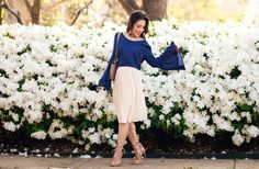 cute & little | dallas petite fashion blog | navy bell sleeve top, apricot pleated skirt, lace-up sandals | spring outfit
