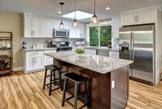 Transitional Kitchen with L-shaped, Limestone Tile, PB CLASSIC PENDANT - FLARED GLASS, Undermount sink, Kitchen island, Flush