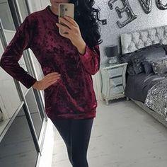 Fashion Velvet Scoop Leisure Loose Style T-shirts
