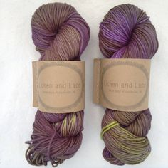 Lichen and Lace 4ply Superwash Merino Worsted hand dyed yarn - baby eggplant