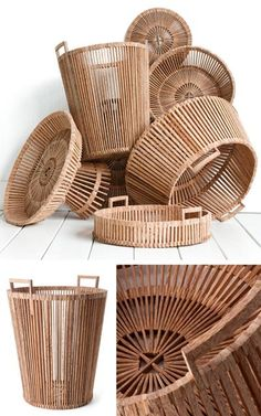 Famous Dutch designer Piet Hein Eek has created a beautiful collection of baskets for Fair Trade Originals. He collaborated with traditional Vietnamese craftsmen and made the baskets out of scrapwood in accordance with Fair Trade principles. Rattan, Wicker, Wood Basket, Bamboo Basket, Bamboo Crafts, Salvaged Wood, Diy Crafts To Sell, Basket Weaving, Home Accessories