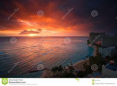 Waikiki Beach sunset stock photo. Image of vacation, sunbathing - 2017176