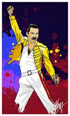 Freddie Mercury Illustration by Kyle Lambert (kylelambert.co.uk), via Flickr