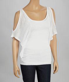 POPULAR BASICS White Burnout Cutout Cape-Sleeve Top by POPULAR BASICS #zulily #zulilyfinds