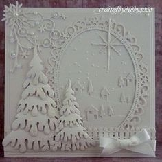 handmade Christmas card from A Scrapjourney ... white on white ... delightful Christmas scene with die cuts and embossing ... gorgeous!!
