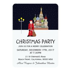 Santa In Moscow Christmas Party Invitation