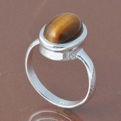 YELLOW TIGER EYE 925 SOLID STERLING SILVER RING 4.93g DJR6716 #Handmade #Ring