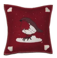 Jan Constantine - Robin Cushion Everyone's favourite bird is hand-embroidered onto the front of this rich red pure wool Christmas cushion and surrounded by little French knots depicting falling snow. The cushion is edged in cream blanket stitch. Christmas Cushions To Make, Patterdale Terrier, Merry Little Christmas, Christmas Ideas, Christmas Crafts, Luxury Cushions, Embroidered Cushions, French Knots, Blanket Stitch