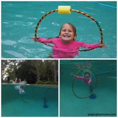 Turn a Hula Hoop into a swimming hoop!