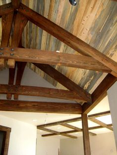 painted black beams with white tongue and groove and groove