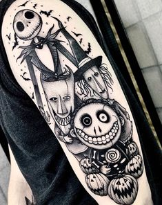 Spooky Tattoos, Dope Tattoos, Body Art Tattoos, Tattoo Drawings, Sleeve Tattoos, Tim Burton, Halloween Tattoo, Spooky Halloween, Jack Tattoo