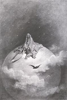 """""""Dreaming dreams no mortal ever dared to dream before."""" Death sits atop the moon in this illustration by Gustave Doré, 1832-1883, for Edgar Allan Poe's classic, The Raven.  A prolific French illustrator and painter, Doré's illustration appears in the 1884 Harper Brothers edition of Poe's poem."""