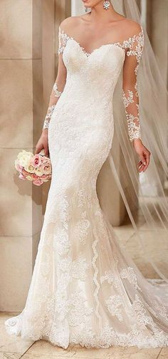 Illusion Lace Sleeves on this Matte-side Lustre Satin Stella York design.