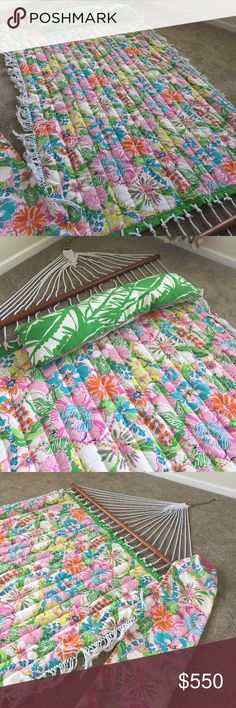 Lilly Pulitzer Hammock Brand New!!! 2 person Lilly Pulitzer Hammock size 6ft10in L x 4ft7in W, it doesn't come with the stand, you can order a stand from Amazon like $30-40. It comes with a bag and the pillow. Limited Edition from Target Lilly Pulitzer Other
