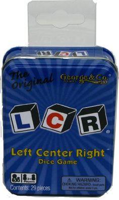 LCR® Left Center RightTM Dice Game - Blue Tin George & Company LLC http://www.amazon.com/dp/B003I64OT6/ref=cm_sw_r_pi_dp_KvOLtb18SAP85MYC