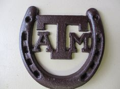 Cast Iron Texas A & M Horse ShoeAggies by GualesWoodcrafts on Etsy, $6.50